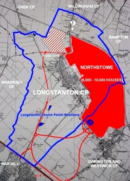 Map of Longstanton parish and District (Oakington & Westwick and the current plans for the extent of Northstowe)